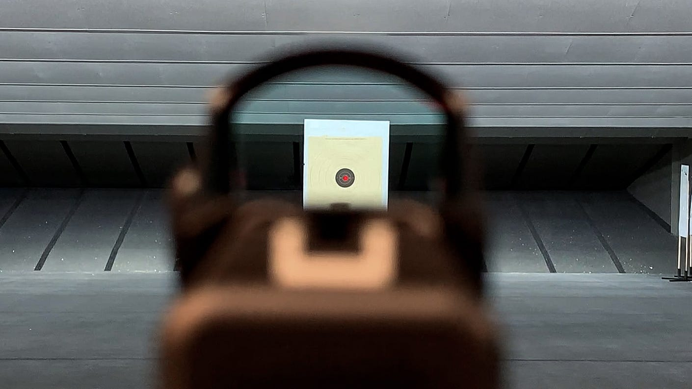 Low-profile iron sights blocked by a red dot.