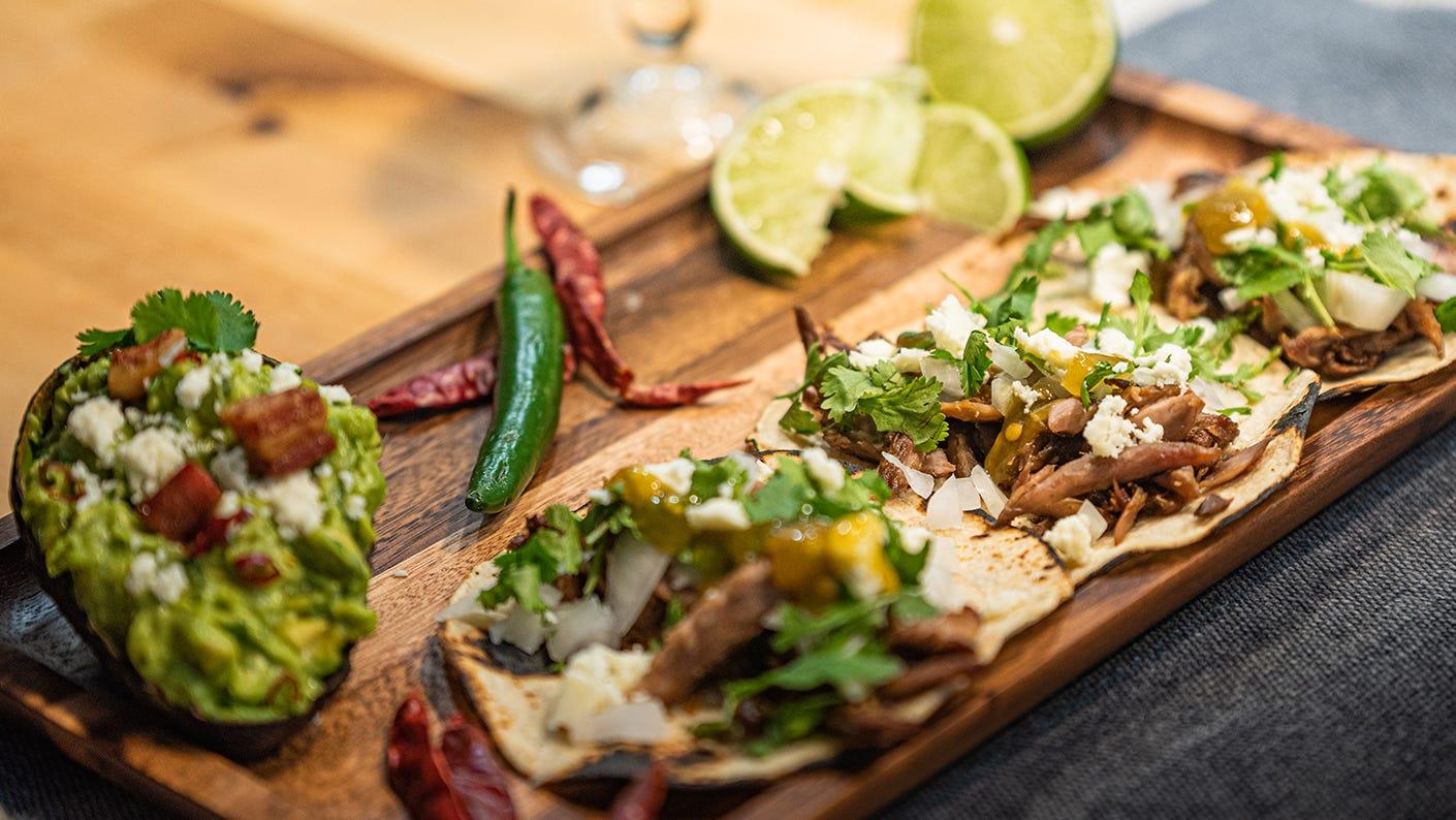 Squirrel taco platter.
