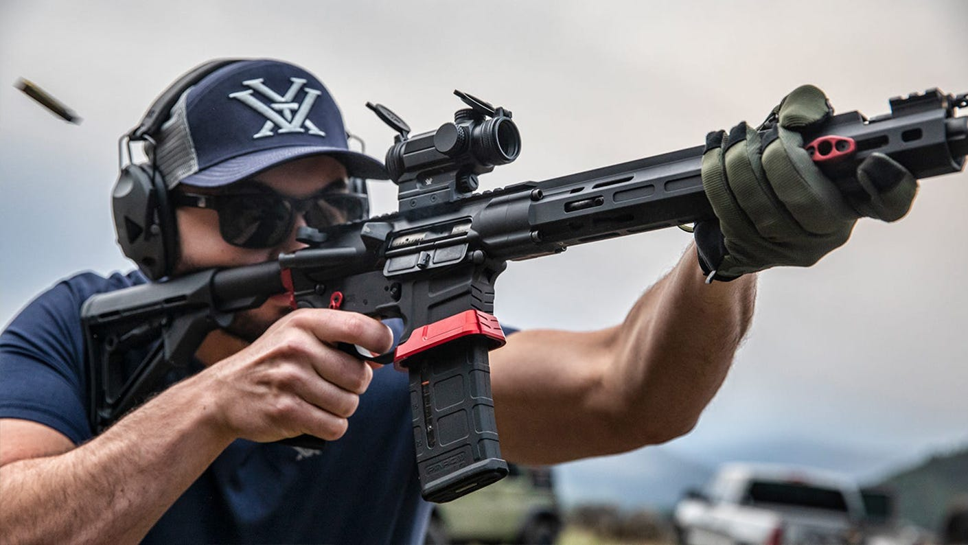 Shooter practicing at the outdoor range.